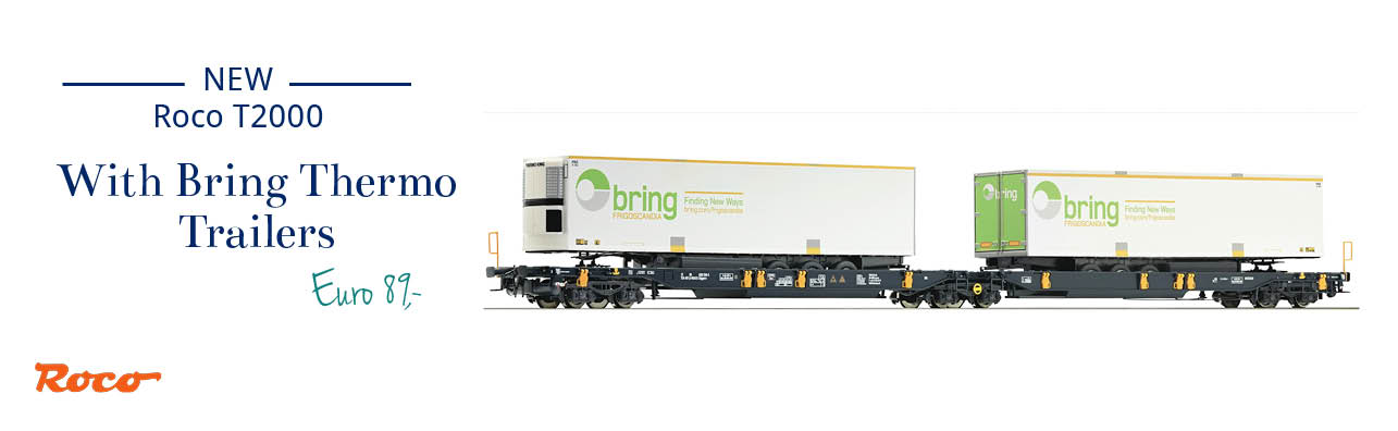 Roco 67413 Wascosa T2000 pocket and container wagon with Bring Thermo Trailers