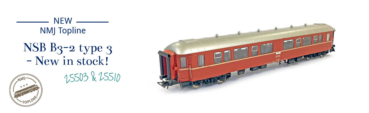 NMJ Topline NSB B3-2 type 3 passenger coaches now in stock - NMJ Topline 130.101 and 130.102