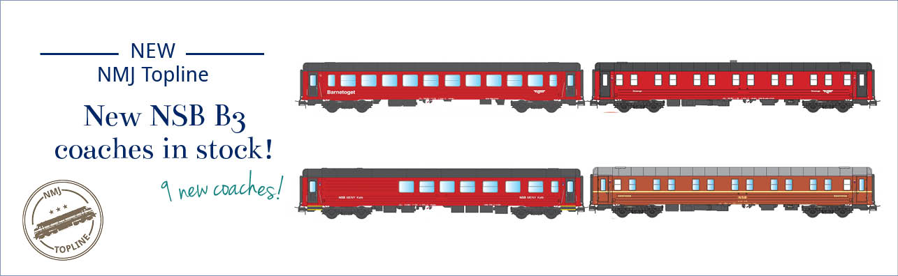 NMJ Topline NSB B3-series passenger coaches are now in stock. The coaches are delivered in the following versions - NSB WLAB Sleeping coahces, red/black and red/brown design (NMJ 101.103, 101.104, 101.303 og 101.304), NSB CB3 og BC3 Children's coaches (NMJT 106.304, 101.305 og 106.306) and NSB FR3-2 Bistro and NSB Meny Café.