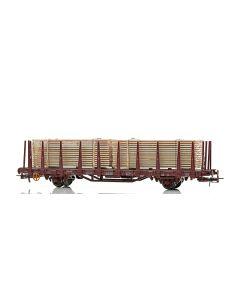 Topline Godsvogner, NMJ Topline model of the NSB Kpbs 21 76 335 3 740-2 stake car loaded with timber., NMJT502.301