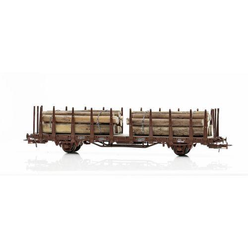 Topline Godsvogner, NMJ Topline model of the SJ Kbps 21 74 370 3 741-0 stake car with timber load. , NMJT602.303