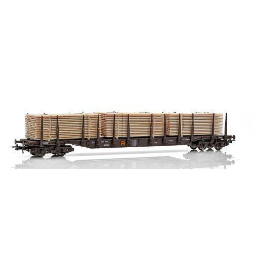 Topline Godsvogner, NMJ Topline model of the NSB Rps 31 76 393 3 239-2 stake car with wooden planks, NMJT505.502