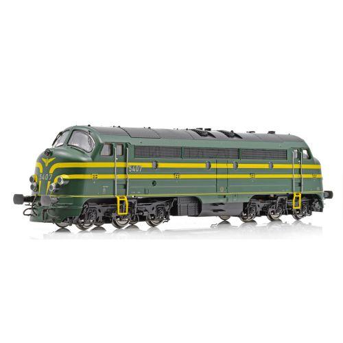 Topline Lokomotiver, NMJ Topline model of the SNCB 5407 in late version with 5 front lamps., NMJT90404